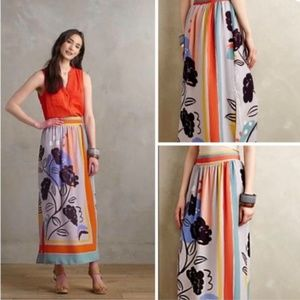 Anthro Maeve Plein Air Maxi Skirt Abstract Flowers